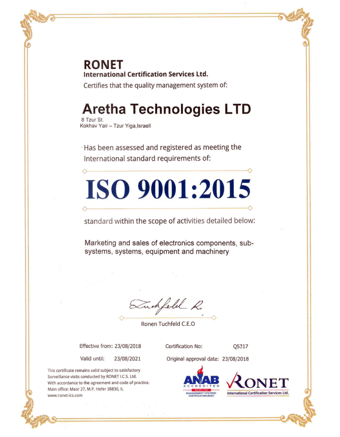 Quality Policy Certifications Aretha Technologies